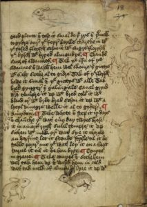 Harley 1735, fol. 18r contains sketches of a dog, swan, rabbits, and grains of wheat. http://www.bl.uk/manuscripts/Viewer.aspx?ref=harley_ms_1735_f018r. (c)British Library Board Harley MS 1735
