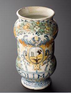Caption: Albarello drug jar for Sublimate of Mercury, Italy, 1501-180, Wellcome Library, London