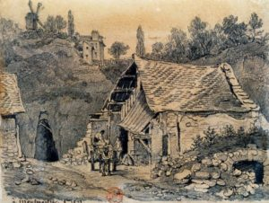 Entrance to the Montmartre gypsum quarry. Probably early 19th century, artist unknown.