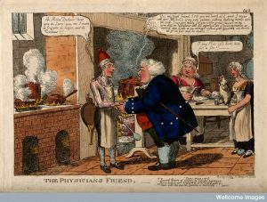 An obese doctor acknowledging the favours of a French chef in his kitchen; denoting their complicity, the chef's food providing patients. Coloured etching by C. Williams, c. 1815. Credit: Wellcome Library, London.
