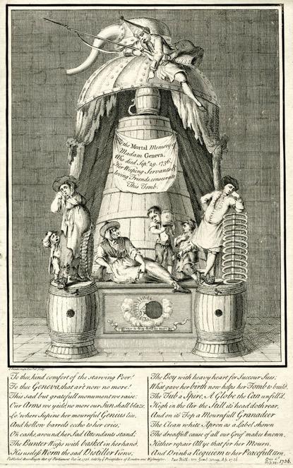 Print commemorating the death of Madam Geneva, 1736 ©Trustees of the British Museum.