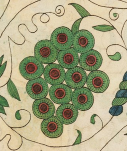 Thomas Trevilian, Detail of grapes from the Trevelyon Miscellany (1608), V.b.232, Folger Shakespeare Library.