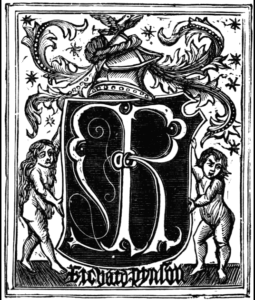 Printer's mark of Richard Pynson.  Image courtesy of Wikipedia.