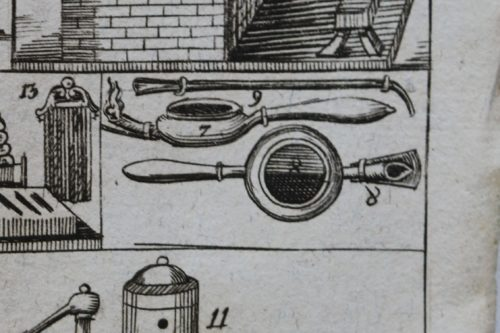 Figure 2 (Detail). Engraving of gold- and silversmithing tools. Numbers 7 and 8 indicate the soldering lamp, number 9 the blowpipe. Copy of the Guidebook held by the Rijksmuseum Library, Amsterdam (Call number: 305 E 33). Photo by Thijs Hagendijk.