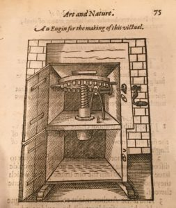 Pasta Machine in Hugh Plat, The Jewell House of Art and Nature: Conteining Divers Rare and Profitable Inventions… (London, 1594) STC19991, c.2, Folger Shakespeare Library, 75. Image courtesy of the author and the Folger Shakespeare Library.