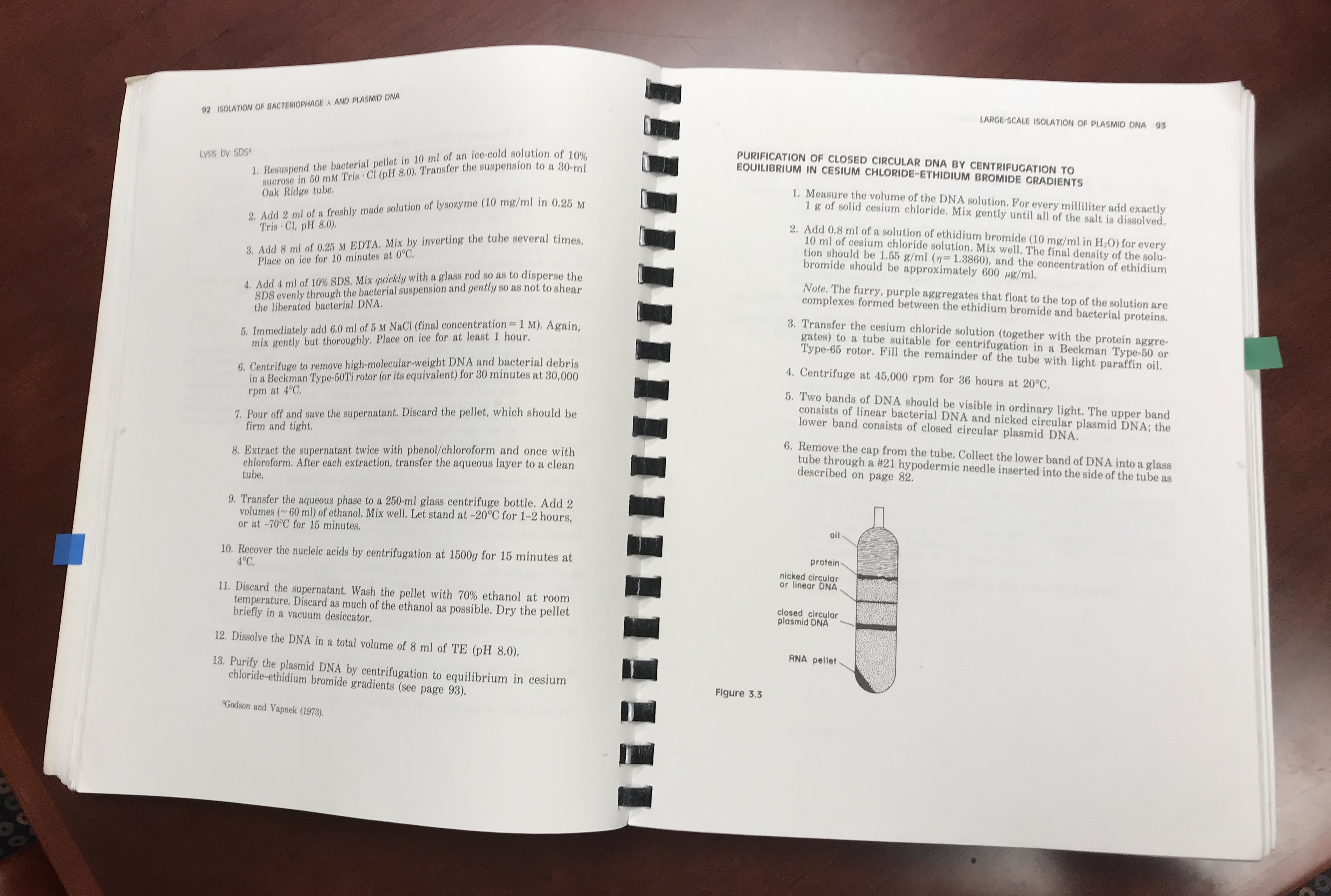 Pages 92 and 93 of Maniatis, Fritsch, and Sambrook, Molecular Cloning: A Laboratory  Manual. One can see how the book is spiral bound so it lays flat when ...