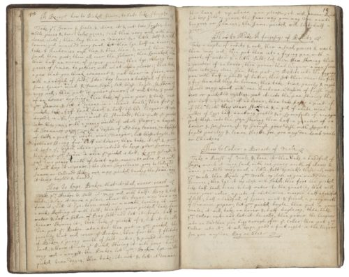 Cookbook of Jane Dawson, late 17th century. Image courtesy of Folger Digital Image Collection