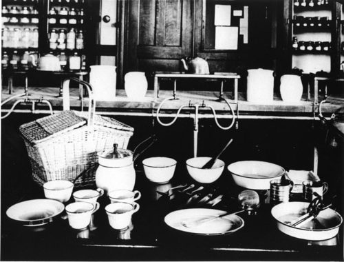Foods and Cookery laboratory, School of Household Art, Teachers' College, Columbia University, 1910-20. From Collection #23-2-749, item M-OS-08. Cornell University Library. Courtesy of WikiMedia Commons.
