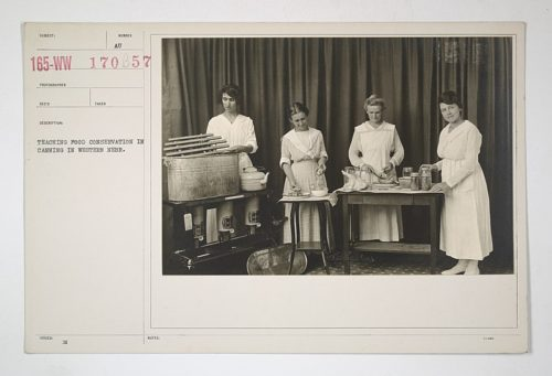 """Food Administration - Education - Teaching food conservation in canning in Western Nebraska,"" 1917-1918, National Archives at College Park, Courtesy of Wikimedia Commons."