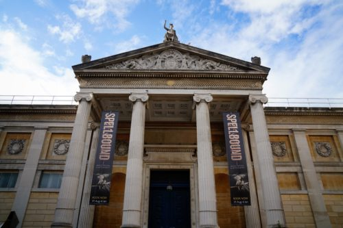 """Image of the Ashmolean Museum, Oxford, featuring the """"Spellbound"""" exhibition.  Photo by permission of the author."""