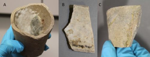 Figure 2. Crucible fragments analysed with glassmaking residues.
