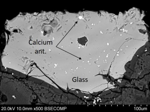 Figure 5. SEM image of residue C, showing the small opacifying crystals of calcium antimonate.