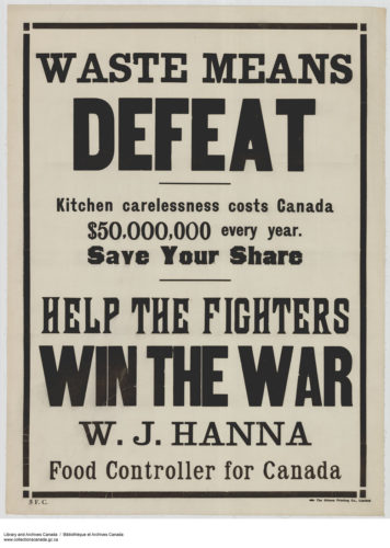 """Fig. 2. """"Waste Means Defeat,"""" 1914-1918. Courtesy of Library and Archives Canada, Acc. No. 1983-28-710, MIKAN no. 3667237"""