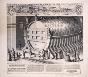 """Willem Delff. """"Cask of Heidelberg."""" 1608. Folger Shakespeare Library."""