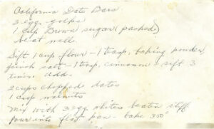 Recipe for California Date Bars. Image courtesy of the authors.