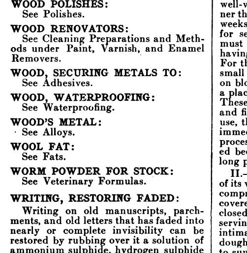Wood Polishes; Wood Renovators; Wood, Securing Metals To; Wood, Waterproofing; Wood's Metal; Wool Fat; Worm Powder for Stock; Writing, Restoring Faded […].